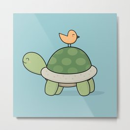 Kawaii Cute Tortoise And Bird Metal Print