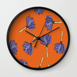 Vector Hand-Drawn Feather Duster Icon SEAMLESS Wall Clock