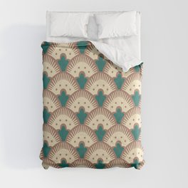 Fan Pattern Brown and Green 991 Comforters