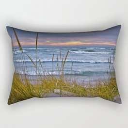 Sunset Photograph of a Dune with Beach Grass at Holland Michigan No 0199 Rectangular Pillow