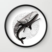 the whale Wall Clocks featuring Whale by Margarita Kukhtina
