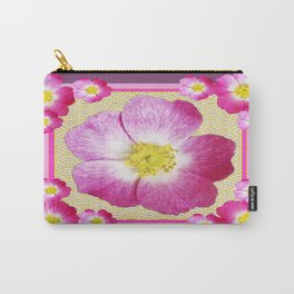 Pink Wild Roses & Puce Purple Abstract Pattern Carry-All Pouch