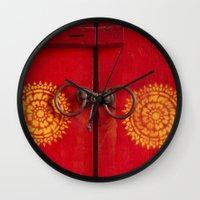 buddhism Wall Clocks featuring Temple Door by Maria Heyens