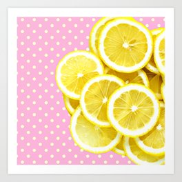 Candy Pink and Lemon Polka Dots Art Print