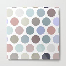Polka dot pattern. Pastel color dot on white background Metal Print