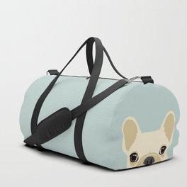 French Bulldog Peek - Cream on Dusty Blue Duffle Bag
