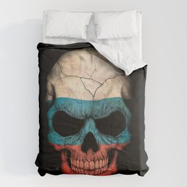 Dark Skull with Flag of Russia Comforters