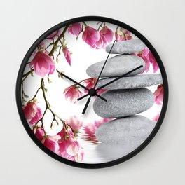 Magnolia flowers and zen stones 10 Wall Clock