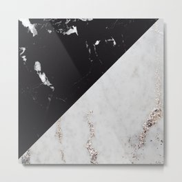 Black Marble Meets White Glitter Marble #1 #decor #art #society6 Metal Print