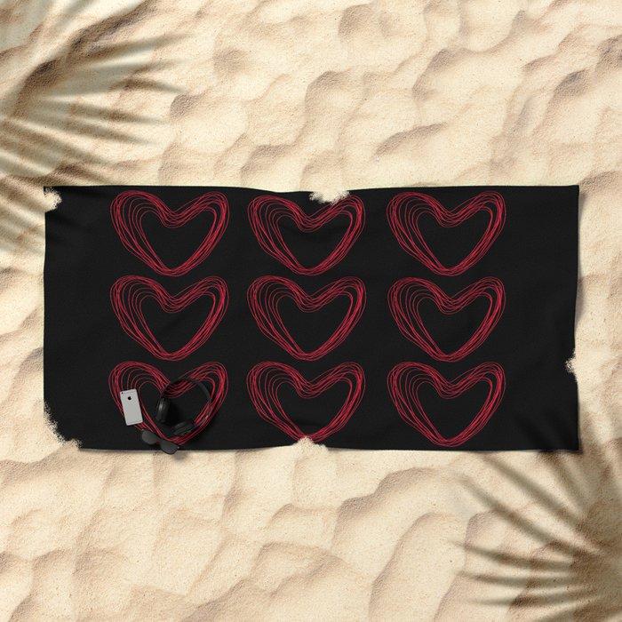 Red Hearts Beach Towel