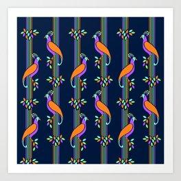 Vintage Art Deco Birds and Stripes Pattern Art Print