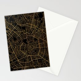 Black and gold Milan map, Italy Stationery Cards