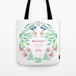 Happiness - Botanic bird water lily - Green, pink - Circle Tote Bag