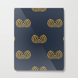 Navy blue art deco pattern Metal Print
