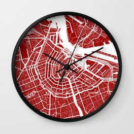 Red City Map of Amsterdam, Netherlands Wall Clock