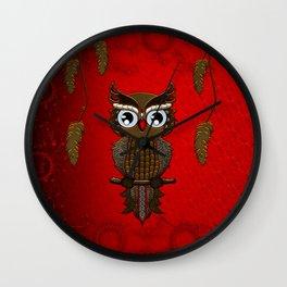 Wonderful steampunk owl on red background Wall Clock