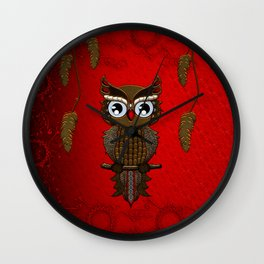 Wonderful steampunk owl on red background Wall Clock