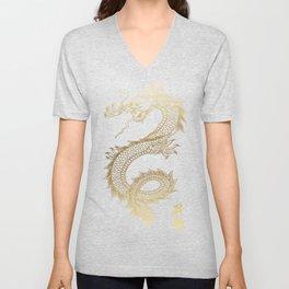 Cool Chinese Gold Dragon Unisex V-Neck