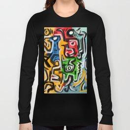Primitive street art abstract Long Sleeve T-shirt