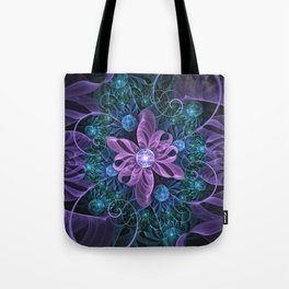 Bejeweled Butterfly Lily of Ultra-Violet Turquoise Tote Bag