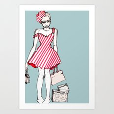 Frazzled Shopper Art Print