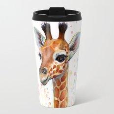 Giraffe Baby Animal Watercolor Whimsical Nursery Animals Travel Mug