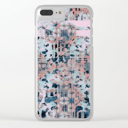 Pink and Blue Modern Geometric and Animal Print Pattern Clear iPhone Case
