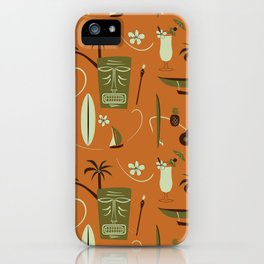 Orange Retro Hawaiian Tiki Hawaii Beach iPhone Case