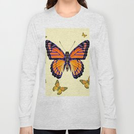SPRING FLYING ORANGE MONARCH BUTTERFLIES ON CREAM Long Sleeve T-shirt
