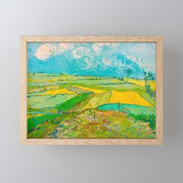 Wheat Fields after the Rain (The Plain of Auvers), July 1890 Oil Painting by Vincent van Gogh Framed Mini Art Print