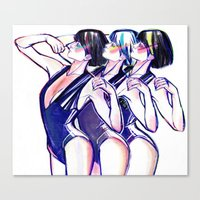 workout Canvas Prints featuring 80s Workout by Cassandra Siemon C.M. Laserfield