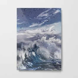 Stormy sea with water droplets Metal Print