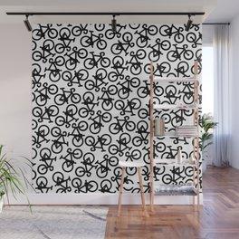Black Bikes Pattern Wall Mural