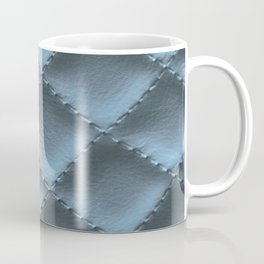 Quilted leather effect (blue metal) Coffee Mug