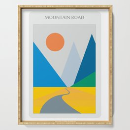 Road dwindling upon the mountains vintage artwork Serving Tray