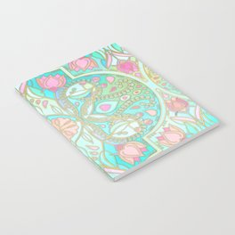 Floral Moroccan in Spring Pastels - Aqua, Pink, Mint & Peach Notebook