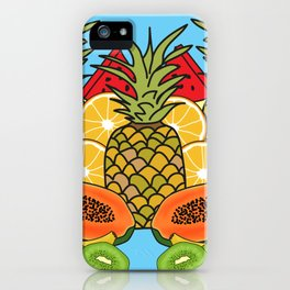 Turquoise Tropical Fruit iPhone Case