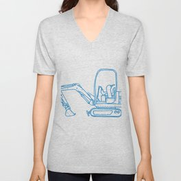 Mechanical Digger Mono Line Unisex V-Neck