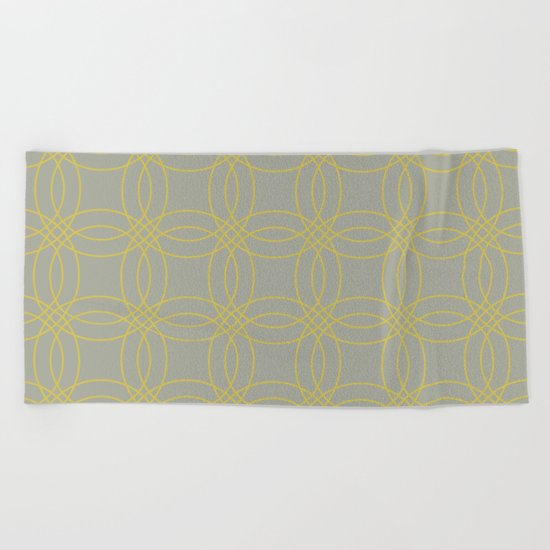 Simply Vintage Link in Mod Yellow on Retro Gray Beach Towel