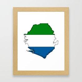 Sierra Leone Map with Sierra Leonean Flag Framed Art Print