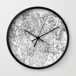 Jakarta White Map Wall Clock