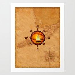 Sailboat And Compass Rose Art Print