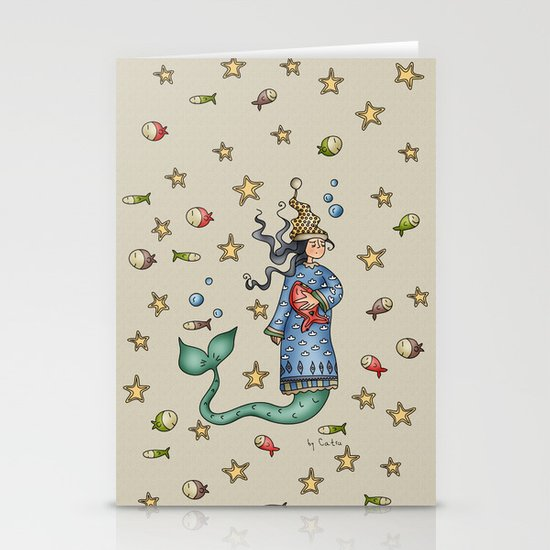 Mermaid {Sleepy} Stationery Cards