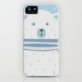 Polar White Bear with Scarf iPhone Case