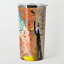 African Elephant Family Painting Travel Mug