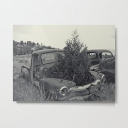 A tree grows in it Black and White Scenes from  a junkyard Metal Print