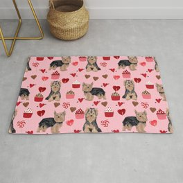 Yorkie valentines day yorkshire terrier hearts cupcakes dog breeds dog gifts pet portraits Rug
