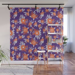 University football fan alumni clemson orange and purple floral flowers gifts Wall Mural