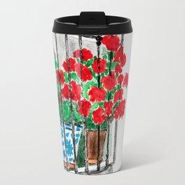 Geraniums in Window Watercolor Travel Mug