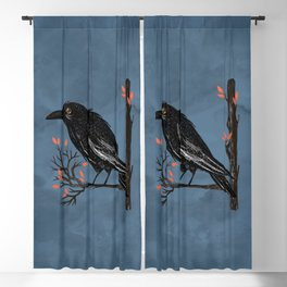 Raven On A Cold And Rainy Day Blackout Curtain